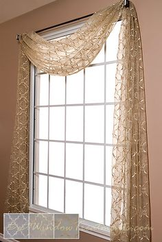 Grand Luxe Sheer Scarf swag topper for dining room window