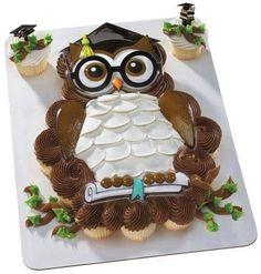 Graduation Owl Cake by ABirthdayPlace Owl Cupcakes, Cupcake Cakes, Cupcake Toppers, Graduation Cupcakes, Graduation Ideas, Preschool Graduation, Pull Apart Cake, Cake Kit, Cake Decorating Techniques