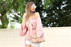 Mbcos fashion blogger spanish influencer silk blouse off shoulders trend how to…