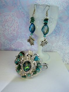 Your place to buy and sell all things handmade Sea Turtle Jewelry, Sea Turtle Art, Sea Jewelry, Turtle Earrings, Jewelry Sets, Handmade Jewelry, Turquoise Gemstone, Turquoise Jewelry, Nail Polish Jewelry