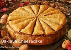 Baklava Cheesecake features A phyllo pastry crust and phyllo and nut topping drenched in a cinnamon and cognac flavored syrup, taking its inspiration from traditional baklava Baklava Cheesecake, Cheesecake Recipes, Dessert Recipes, Desserts, Cheesecakes, Greek Recipes, Queso, Sweet Tooth, Sweet Treats