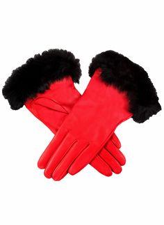 17-2030 Women's luxury English made plain leather glove with rabbit fur cuff. Contrast silk lining.