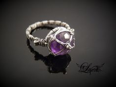 Amethyst medieval ring  sterlng silver by Lothy78 on Etsy, $24.99
