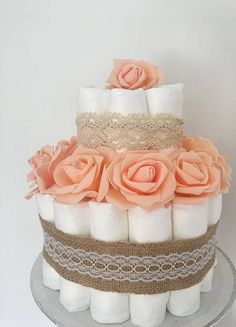 Peach Hessian Lace nappycake  @howperfect_