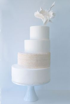 Art Deco inspired (5,020 hand formed fondant pearls!) Cake by Maggie Austin
