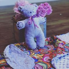 Set of baby soft minky blanket and teddy bear made of the same minky fabric with embroidered face and paws Craft Bags, Minky Blanket, Cute Little Things, Minky Fabric, Soft Blankets, Hot Pads, Different Patterns, Baby Bottles, Baby Quilts