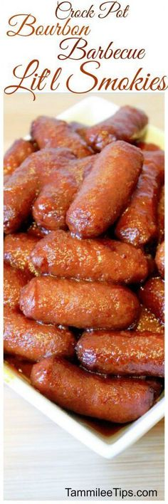 Crock Pot Bourbon Barbecue Lit's Smokies Recipe perfect for Super Bowl Football Parties and New Years parties! This appetizer recipe is so easy to make in the slow cooker!