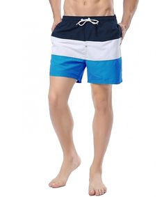 Mens Striped Board Shorts Quick Dry With Mesh Liner and Pockets - Navy+white+blue - Clothing, Swim, Board Shorts Shorts Trunks Swimwear, Swim Trunks, Surf Shorts, Fleece Shorts, Mens Boardshorts, Man Swimming, Navy And White, Quick Dry, Menswear