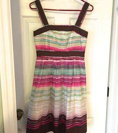 Dress BCBG Paris, Size 4, Multi Color Fit N Flare, Cotton,Lined, Side Zipper EUC #BCBGParis