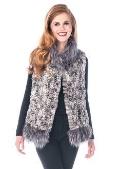 Grey Silver Fox Fur Trim Knitted Chinchilla Vest Size 12 (L) Mink Vest, Chinchilla Coat, Coat Outfit, Fur Accessories, Fur Clothing, Fabulous Furs, T Shirt And Jeans, Fox Fur, Fur Trim