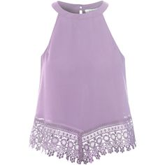 Lilac Lace Trim Vest Top ($33) ❤ liked on Polyvore featuring tops, shirts, purple, purple camisole, purple shirt, sleeveless shirts, torn shirt and purple tank