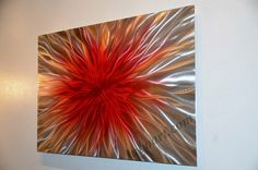 abstract+red+metal+art+sculpture+painting+shiny+modern+by+luboart,+$200.00
