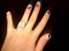 Gorgeous colorblock nails on Amber Ridinger