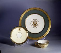 The Truman state china was banded in celacion green to match the walls of the state dining room.  The service was designed and manufactured by Lenox.  White House Entertaining  National Museum of American History