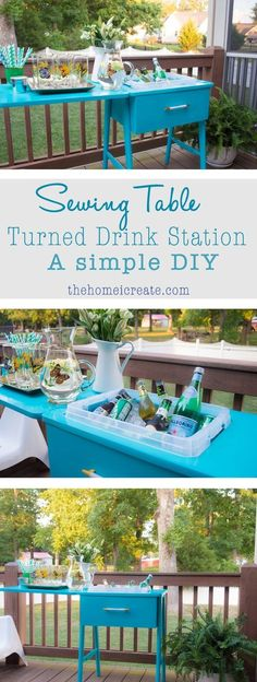 Turn an old sewing machine into a drink station with this simple DIY! When not in use, you can easily use it as a side table! Never skip over this thrift store staple again! | http://thehomeicreate.com