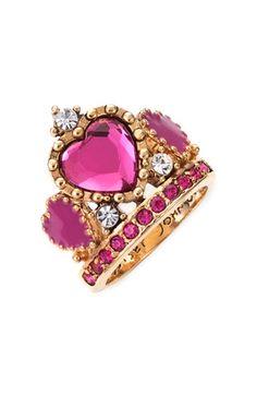 Betsey Johnson 'Varsity Crush' Tiara Ring