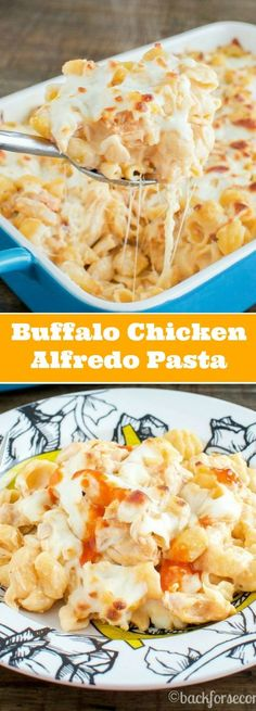 Buffalo Chicken Alfredo Pasta Bake - use gluten free pasta. This is very good and so easy!! My husband (who is not a pasta fan) and my daughter (who is very picky) both loved it! It worked very well to substitute gluten free noodles. Be sure the alfredo sauce is gluten free.