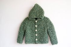 Hand Knitted Baby/Toddler Boucle Wool Yarn Hoodie Duffel Coat/Jacket, Chunky, Green