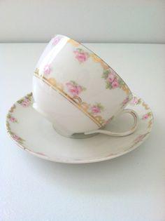 Vintage M.Z. Moritz Zdekauer Austria  Tea Cup and Saucer Cottage Style Tea Party