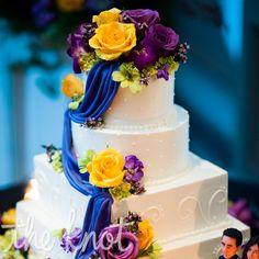 Purple and Yellow Wedding Cake