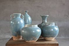 Blue Rustic Chinese Pottery Vases Sizes Vary from 7 Purple Accent Walls, Purple Accents, Colourful Living Room, Rugs In Living Room, Blue Pottery, Pottery Vase, Ginger Jars, Wall Colors, Home Accessories