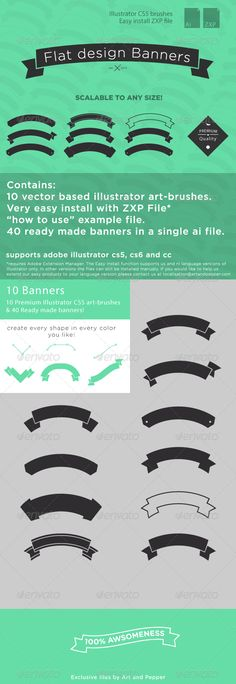 Flat Design Banners Volume 1 — AI Illustrator #scaleable #green • Available here → https://graphicriver.net/item/flat-design-banners-volume-1/5193663?ref=pxcr