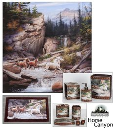 Horse Canyon Shower Curtain & Bath Set Combo