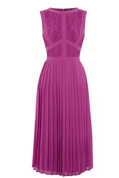 This formal midi dress features a high neck, sleeveless cut, lace inserts to the top, nipped in waist and lined midi-length skirt with pleat detailing Pleated Midi Dress, Long Sleeve Midi Dress, Dress Skirt, Dress Up, Classy Outfits, Pretty Outfits, Beautiful Outfits, Couture Dresses, Fashion Dresses