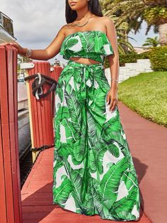 Sum All Chic, Shop Green Leaves Print Ruffle Off Shoulder Two Piece High Waisted Elegant Long Jumpsuit online. Long Jumpsuits, Jumpsuits For Women, Two Piece Outfits Pants, Bandeau Top, Wide Leg Pants, African Fashion, Beachwear, Girl Fashion, Summer Outfits