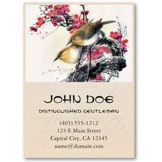 SOLD! $25.15  Cool chinese beautiful brown bird red cherry tree business card template #chinese #art #birds #vintage #business #cards #oriental #unique