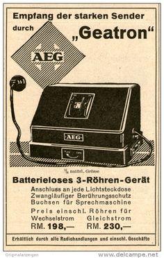 Original-Werbung/ Anzeige 1928 - AEG RADIO GEATRON -  ca. 70 x 110 mm