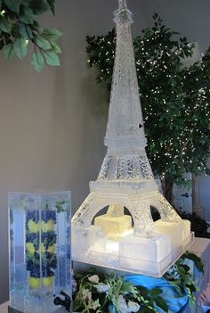 Eiffel Tower ice sculpture with drink dispensed out of it