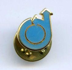 Vtg Circular 2 Direction Arrow Company Logo Blue Enamel Badge Tie Tack Pin