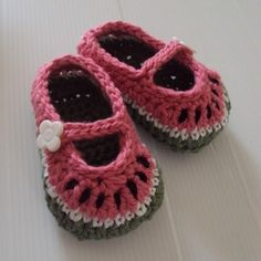Watermelon Mary Janes by Holland Designs | Crocheting Pattern - Looking for your next project? You're going to love Watermelon Mary Janes by designer Holland Designs. - via @Craftsy