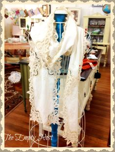 The Empty Nest...created from vintage cutwork lace linens..lovely evening shawl