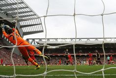 Another angle of Coutinho's wonderful strike into the top corner shows David Marshall at full stretch but in vain