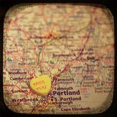 miss you portland maine custom candy heart map art 12x12 by CAPow