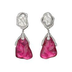 Dorota rubellite & keshi pearl drop earrings