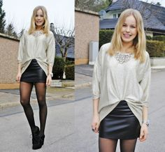 slouchy top and tight pleather skirt... perfect contrast