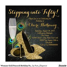 Womans Gold Peacock Birthday Party 5.25x5.25 Square Paper Invitation Card