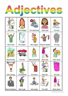 Adjectives Bingo set - English ESL Powerpoints for distance learning and physical classrooms English Adjectives, English Grammar Worksheets, English Vocabulary, Preschool Literacy, Free Preschool, Preschool Worksheets, Printable Activities For Kids, Infant Activities, Pre K Curriculum