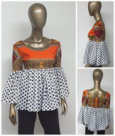 CHYFWAX Collection. African Print Chiffon Empire Waist. Low Back. Bell Sleeves. Bohemien. Flattering Top. Dashiki.