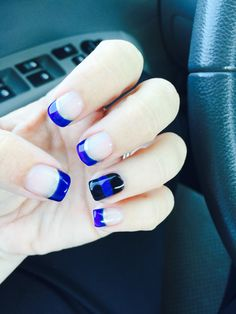 Thin blue line nails.