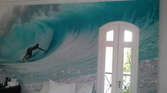 Ashleigh Gilmour Interiors using Kelly Cestari's photography for a feature wall in a bedroom. East London, Small Towns, Surfboard, Surfing, Ocean, Interiors, Bedroom, Wall, Photography