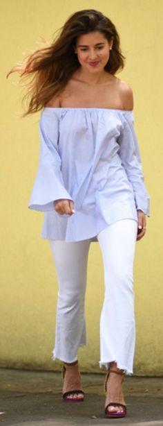 #spring #summer #street #style #outfitideas | BTS Blue Blouse + White Denim | Pam Allier