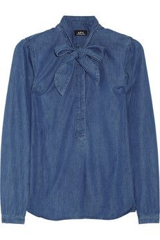 pussy-bow denim blouse ++ a.p.c.