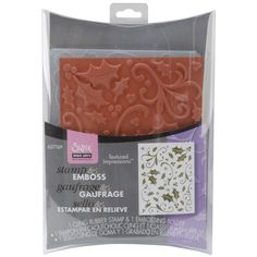 Sizzix Textured Impressions Embossing Folder with Stamp - Holly Background Set by Hero Arts