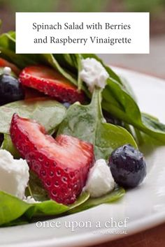 Baby Spinach Salad with Berries, Pecans & Goat Cheese in Raspberry Vinaigrette