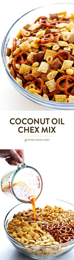 This Coconut Oil Chex Mix recipe is everything you love about traditional party mix, but made with coconut oil instead of butter!  So delicious, and easy to make in the microwave or oven. | gimmesomeoven.com