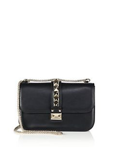 11065758b2 Valentino - Rockstud Lock Medium Shoulder Bag Black Leather Handbags